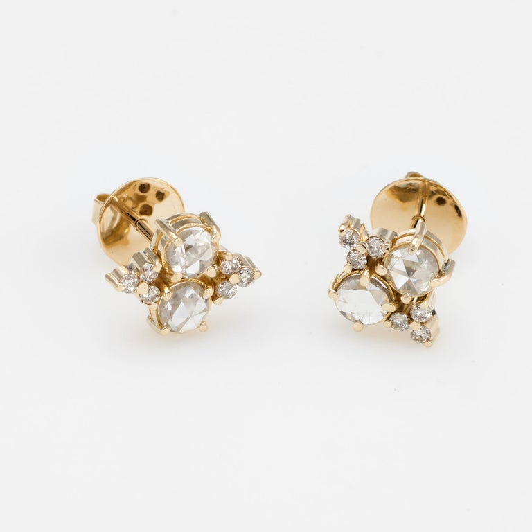 Estate 1.44 Carat Diamond Stud Earrings Rose Cut 14 Karat Gold Fine Jewelry In Excellent Condition For Sale In West Hills, CA