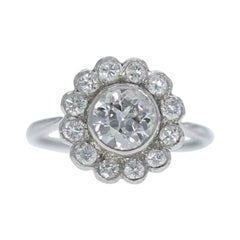 Estate 1.45 Carat Old European Diamond Cluster Engagement Ring