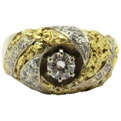 Estate 14K and 22 Karat Two-Tone Men's Diamond Gold Nugget Style Fashion Ring