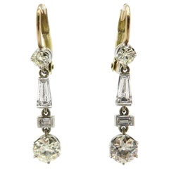 Estate 14K Baguette, Emerald cut and Old European cut Diamond Dangle Earrings