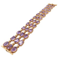 Estate 14K Rose Gold Amethyst and Diamond Three-Row Fashion Statement Bracelet