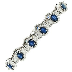 Estate 14k White Gold 17.05ctw Oval Sapphire & Diamond Statement Tennis Bracelet