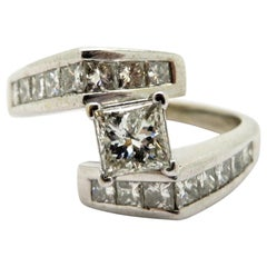Estate 14 Karat White Gold Princess Cut Diamond Bypass Engagement Ring