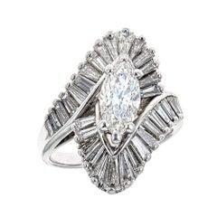 Estate 14K White Gold Ring ' 1.50 CT Marquise Diamond ' 1.0 CT Baguette Diamond
