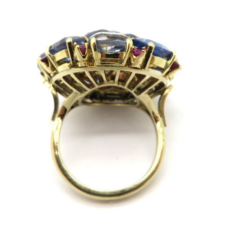 Women's Estate 14 Karat Gold 20.00 Carat GIA Certified Sapphire and Ruby Cluster Ring For Sale