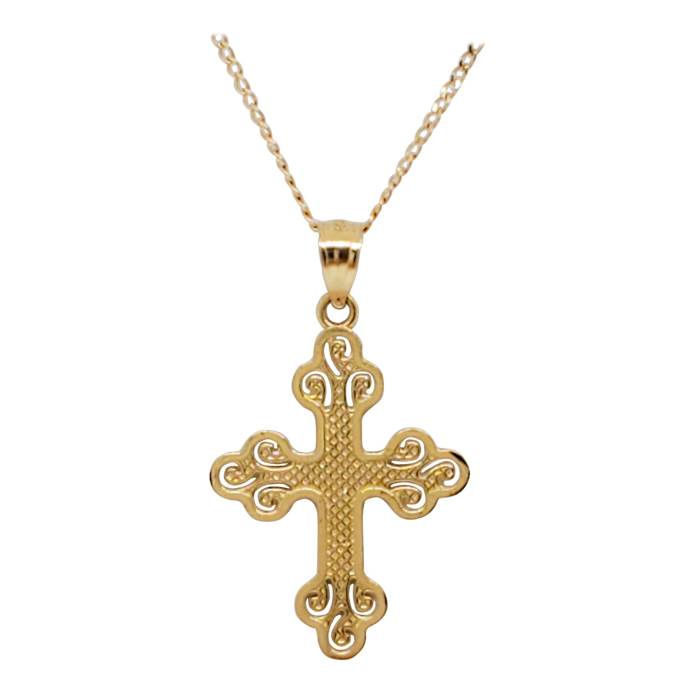 Estate 14k Yellow Gold Cross Pendant Necklace