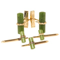 Estate 14 Karat Yellow Gold Nephrite Cufflinks and Shirt Studs Set
