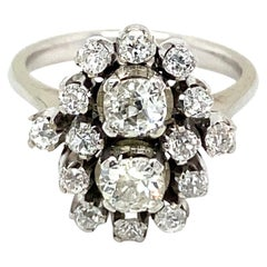 Estate 1.50 Carat Diamond Gold Cluster Ring