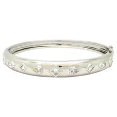 Estate 1.50 Carat Multi Shape 18 Karat White Gold Diamond Bangle Bracelet