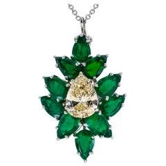 Estate 1.79 Carat Pear Shaped Diamond Emerald Platinum Enhancer Pendant