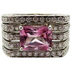 Estate 18 K White Gold Pink Tourmaline & Diamond French Hallmarked Designer Ring