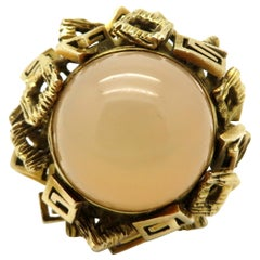 Estate 18 Karat 20.00 Carat Peach Moonstone Greek Key Geometric Design Ring