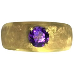 Estate 18 Karat Amethyst Band Ring