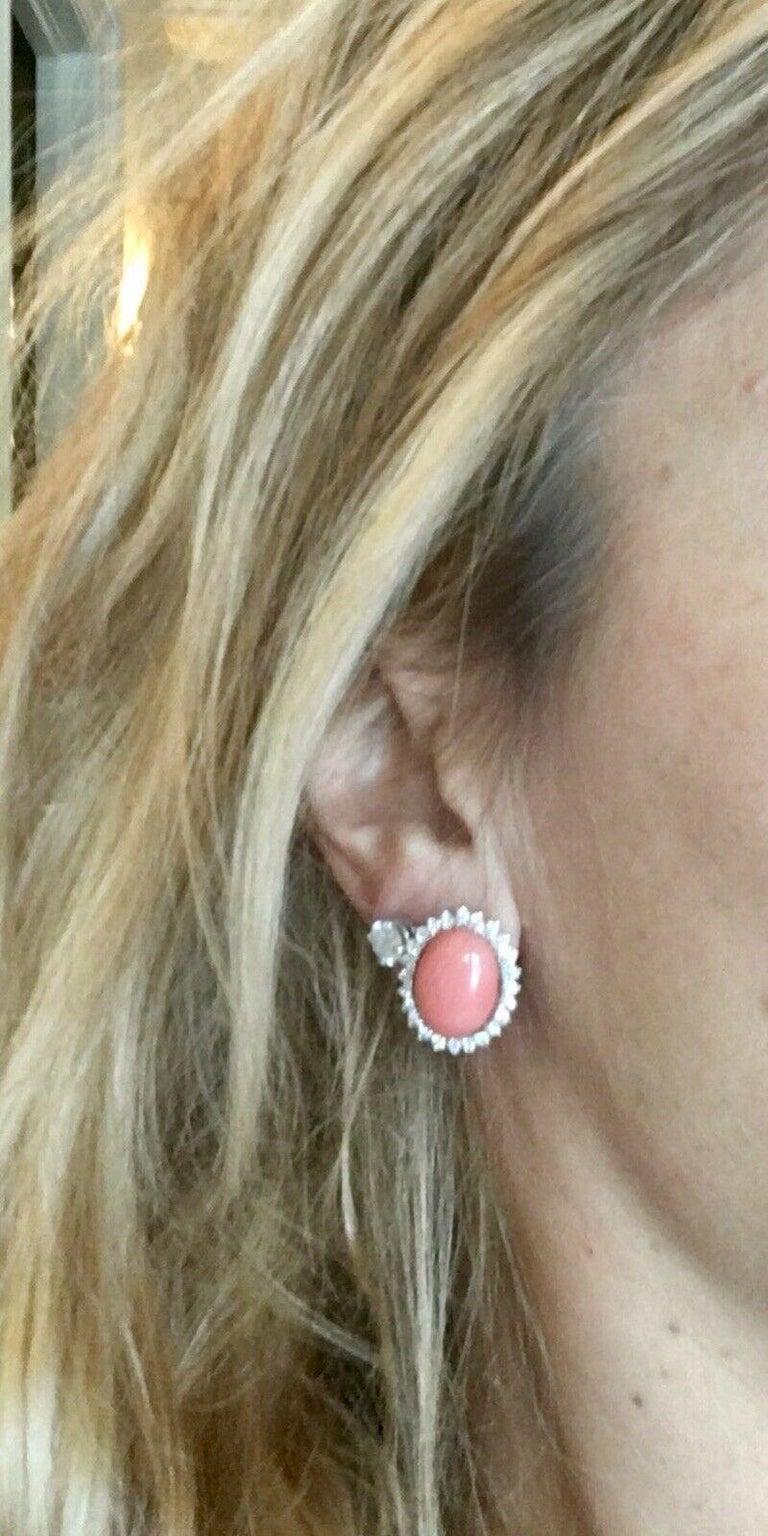 Estate 18 Karat Angel Skin Coral 1.10 Carat VS Diamond Stud Drop Earrings For Sale 4