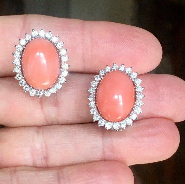 Estate 18 Karat Angel Skin Coral 1.10 Carat VS Diamond Stud Drop Earrings For Sale 5