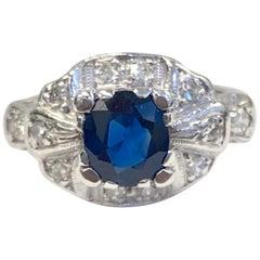 Estate 18 Karat Diamond and 1.30 Carat Burma Sapphire Ring with Finger Fit