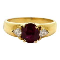 Estate 18 Karat Gold 1.35 Carat Burmese AGL Certified Ruby and Diamond Ring