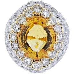 Estate 18 Karat Gold 6 Carat Yellow Citrine VS Diamond Statement Ring