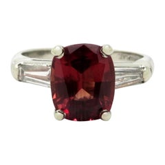 Estate 18 Karat Gold AGL Certified Brown-Orange-Red Sapphire and Diamond Ring