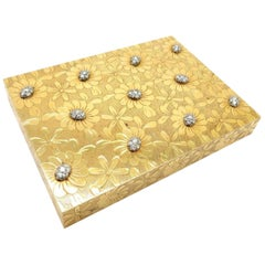 Estate 18 Karat Gold and Diamond Daisy Flower Antique French Makeup Powder Case