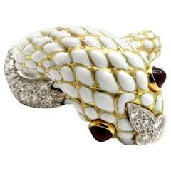 Estate 18 Karat Gold and Platinum Designer David Webb Ruby Snake Fashion Ring