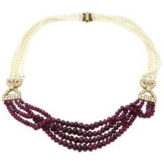 Estate 18 Karat Gold Designer Cartier Paris Natural Pearl and Ruby Necklace