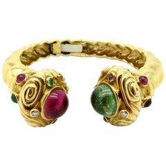 Estate 18 Karat Gold Etruscan Cuff Pink and Green Tourmaline and Diamond Bangle