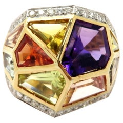 Estate 18 Karat Gold Geometric Multicolor Gemstone and Diamond Rainbow Ring