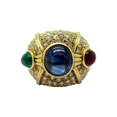 Estate 18 Karat Gold Large Dome Pave Diamond, Emerald, Ruby and Sapphire Ring