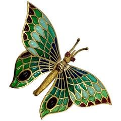 Estate 18 Karat Gold Plique a Jour Enamel Articulated Butterfly Brooch