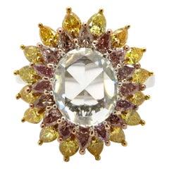 Estate 18 Karat Gold Rose Cut Pink and Yellow Diamonds Sunflower Engagement Ring