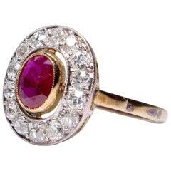 Estate 18 Karat Gold Rubi 'GIA Certified' and Diamond Ring