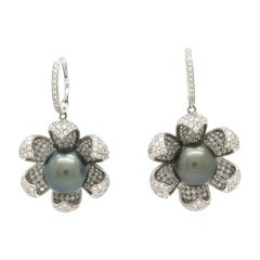 Estate 18 Karat Gold Tahitian Pearl and Pave Diamond Flower Dangle Earrings