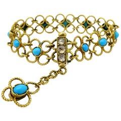 Estate 18 Karat Gold Turquoise and Diamond Art Nouveau Style Flower Bracelet
