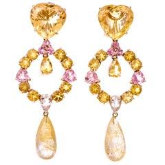 Estate 18 Karat Multi Gem Long Chandelier Gold Earrings