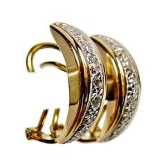 Estate 18 Karat Pinkish-Yellow Gold Diamond Clip-on Earrings