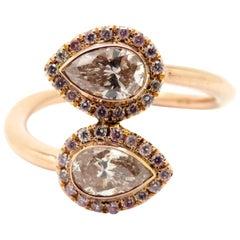 Estate 18 Karat Rose Gold Bypass Pear Shaped Pink Diamond Halo Ring
