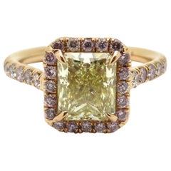 Estate 18 Karat Rose Gold Pink and Yellow Radiant Cut Diamond Halo Ring