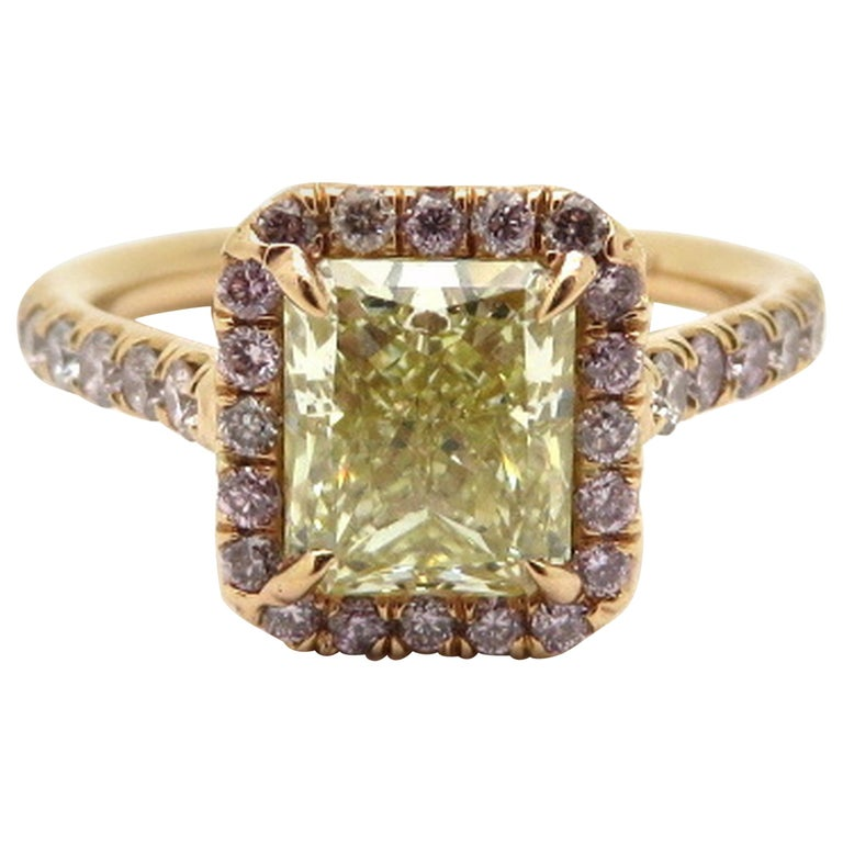 Estate 18 Karat Rose Gold Pink and Yellow Radiant Cut Diamond Halo Ring For Sale