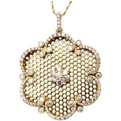 Estate 18 Karat Rose Gold Round Diamond Flower Fashion Statement Necklace