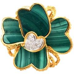Estate 18 Karat Toliro Gold Diamond Malachite Flower Motif Ring
