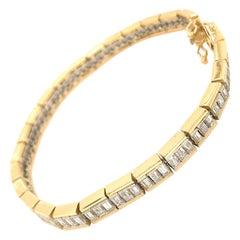 Estate 18 Karat Two-Tone Baguette Diamond Bracelet