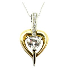 Estate 18 Karat Two-Tone Gold Diamond Fashion Heart Shaped Pendant Necklace