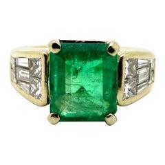 Estate 18 Karat Two-Tone Gold Emerald and Diamond Anniversary Ring