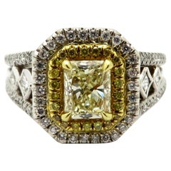 Estate 18 Karat Two-Tone Gold Radiant Cut Yellow Diamond Engagement Ring