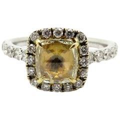 Estate 18 Karat Two-Tone Gold Yellow Rose Cut Diamond Halo Engagement Ring