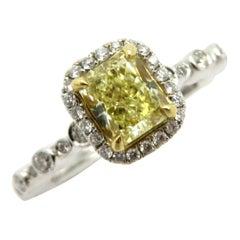 Estate 18 Karat Two-Tone Radiant Cut Yellow Diamond Halo Engagement Ring