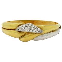 Estate 18 Karat Two-Tone Round Pave Diamond Bangle Fashion Statement Bracelet