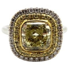 Estate 18 Karat Two-Tone Yellow Radiant Cut Diamond Halo Engagement Ring