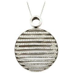 Estate 18 Karat White Gold 2.00 Carat Round Pave Diamond Circle Pendant Necklace